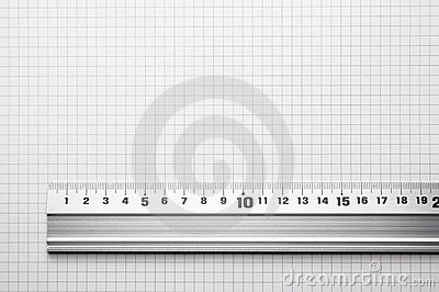 Ruler aligned to a scaled paper