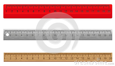 Rulers made ​​of plastic wooden and metal