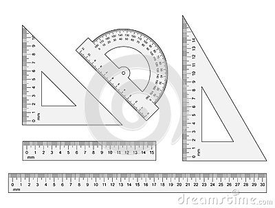rulers triangles protractor vector instruments on wh
