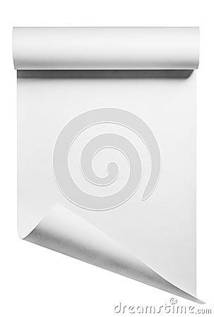 Rulle av tom vitbok som isoleras