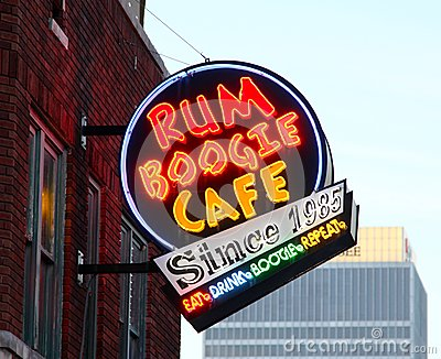 Rum Boogie Cafe Street Sign, Beale Street Memphis, Editorial Image