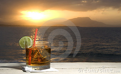 rum on rocks Cocktail by the sea