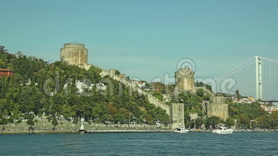 Rumelihisari castle. View of the Rumelihisari castle sailing Bosporus stock video
