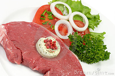Rump steak with herbed butter
