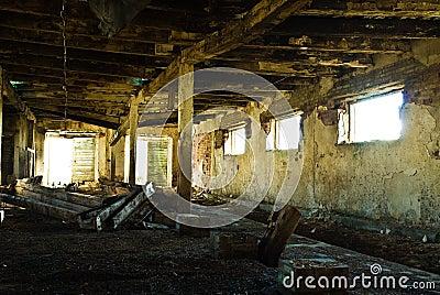 Run-down barn interior