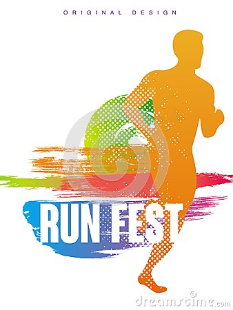 Run fest original gesign, colorful poster template for sport event, marathon, championship, can be used for card, banner Vector Illustration