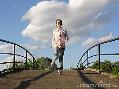 Run girl on bridge