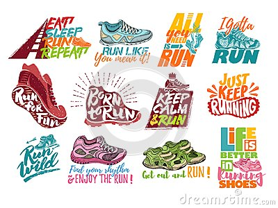 Run lettering on running shoes vector sneakers or trainers with text signs for typography illustration set of runners Vector Illustration