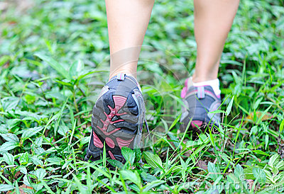Runners feet in nature