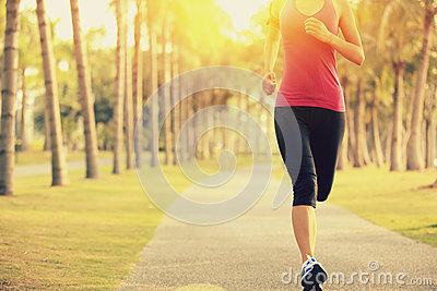 Runner athlete running at tropical park. woman fitness sunrise jogging workout Stock Photo