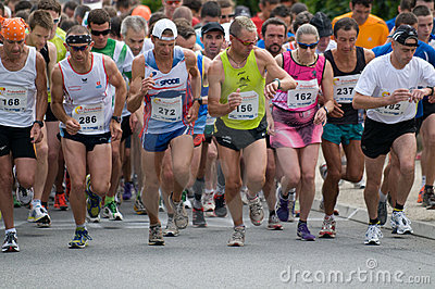 Runner at departure footrace Editorial Photography