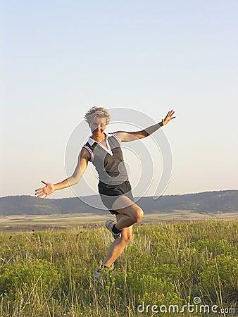 Runner goofing off