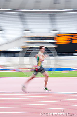 Runner at London s olympic stadium Editorial Photography