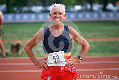Runner at the Senior Olympic Editorial Stock Photo