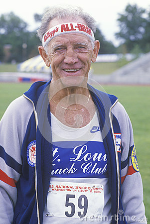 A runner at the Senior Olympics, Editorial Stock Image