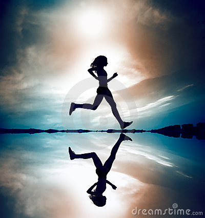 Free Runner Silhouetted Reflection Stock Photography - 2700372