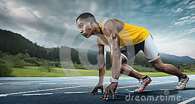 Runner on the start. Stock Photo