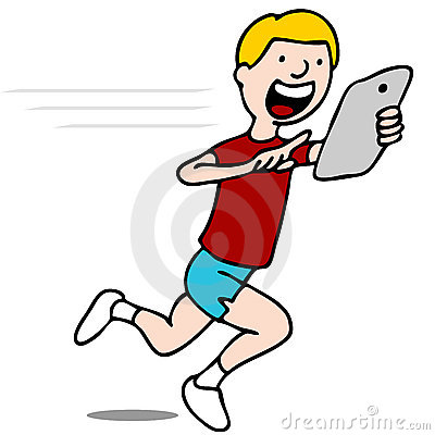 Runner Using His Digital Tablet