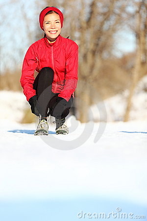 Runner in winter snow