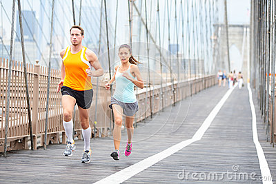 Runners couple running in New York