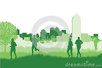 Runners in a field