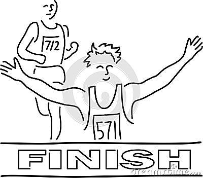 Runners Finish Line Cartoon