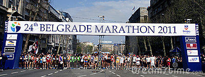 Runners before marathon start Editorial Photo