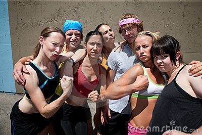Runners pose for muscle shot