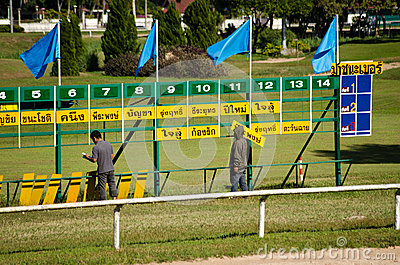 Runners and Riders, Thailand Racecourse Editorial Stock Photo