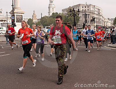 Runners in the Royal Parks Half Marathon, London Editorial Stock Image