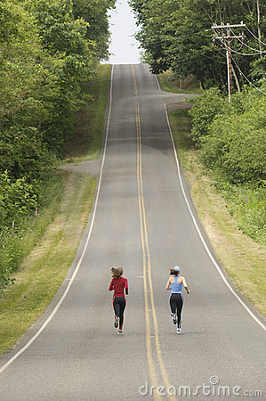 Runners on rural road