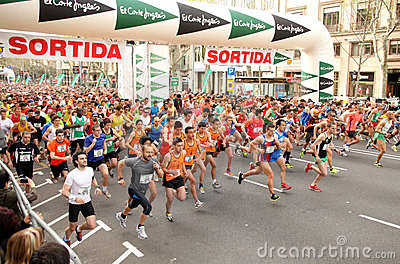 Runners on start of Cursa de El Corte Ingles Editorial Photo