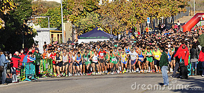 Runners on start of the half marathon Editorial Stock Image