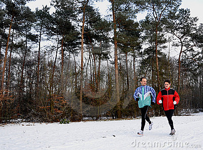 Runners in wintertime