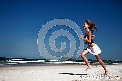 Running along beach