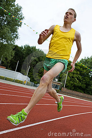 Running athlete in mid-air