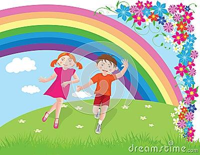 Running boy and girl