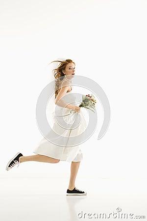 Running bride.