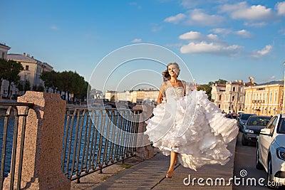 Running bride outdoor