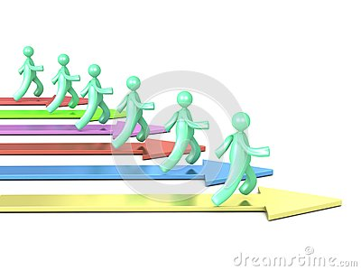 Running cartoon men and colorful arrows
