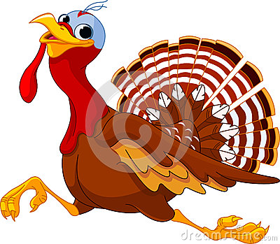 Running Cartoon Turkey