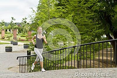 Running in city park