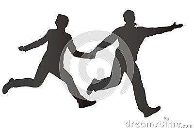 Running couple silhouette
