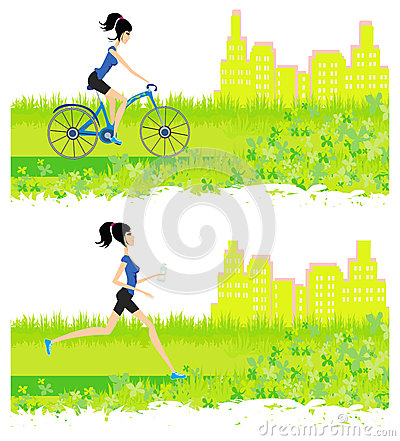 Running and cycling girl