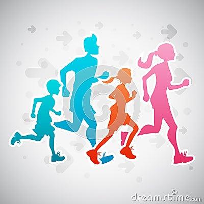 Free Running Family Royalty Free Stock Image - 41886276
