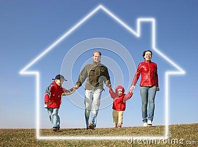 Running family in dream house