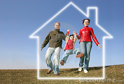 Running family in dream house