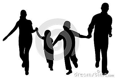Running family of four vector