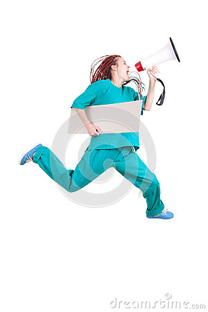 Running female doctor with megaphone and banner