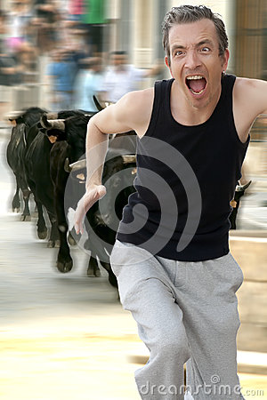 Free Running From The Bulls! Royalty Free Stock Photography - 26209317
